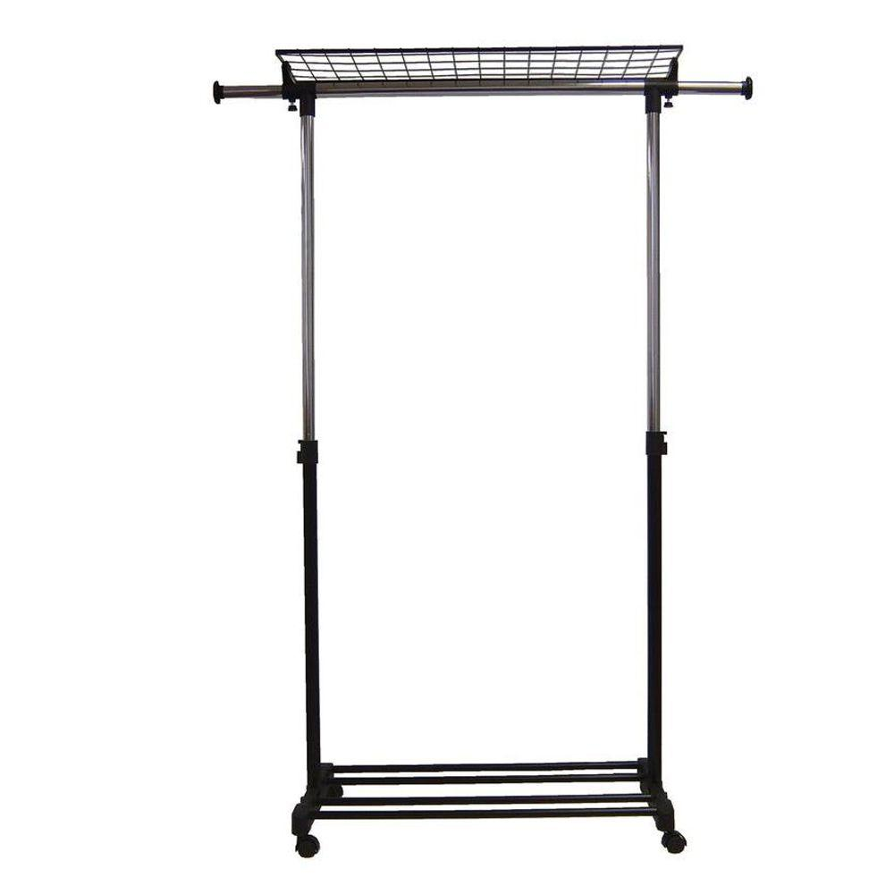 Neu Home Adjustable 59 in. x 71 in. Garment Rack with Shelf, Grey The Adjustable Garment Rack with Wheels can help you keep your clothing neat and organized. The height can be adjusted to accommodate your items. It is designed to hold up to 100 lb. Dual shelf with telescopic hanging rod offers extra storage capacity. Color: Chrome.