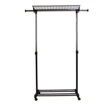 Adjustable 36 in.- 59 in. Garment Rack with Shelf