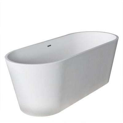 Rossetto 5.6 ft. Man-Made Stone Center Drain Freestanding Bathtub in Matte White