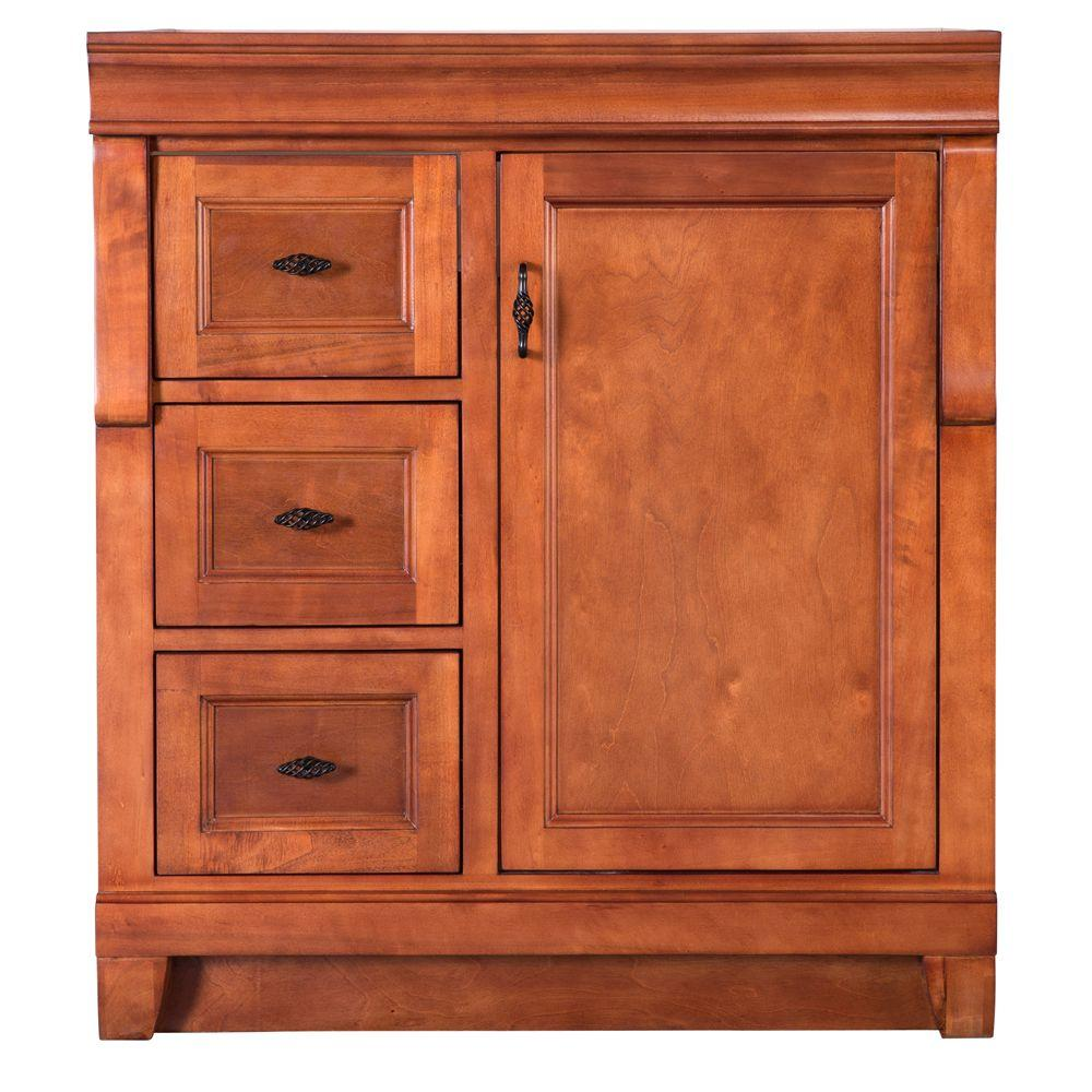 Home Decorators Collection Naples 30 in. W 21.63 in. D Vanity Cabinet Only in Warm Cinnamon with Left Hand Drawers