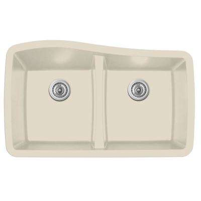 Undermount Quartz Composite 33 in. 50/50 Double Bowl Kitchen Sink in Bisque