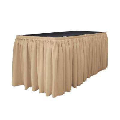 21 ft. x 29 in. Long Khaki Polyester Poplin Table Skirt with 15 L-Clips
