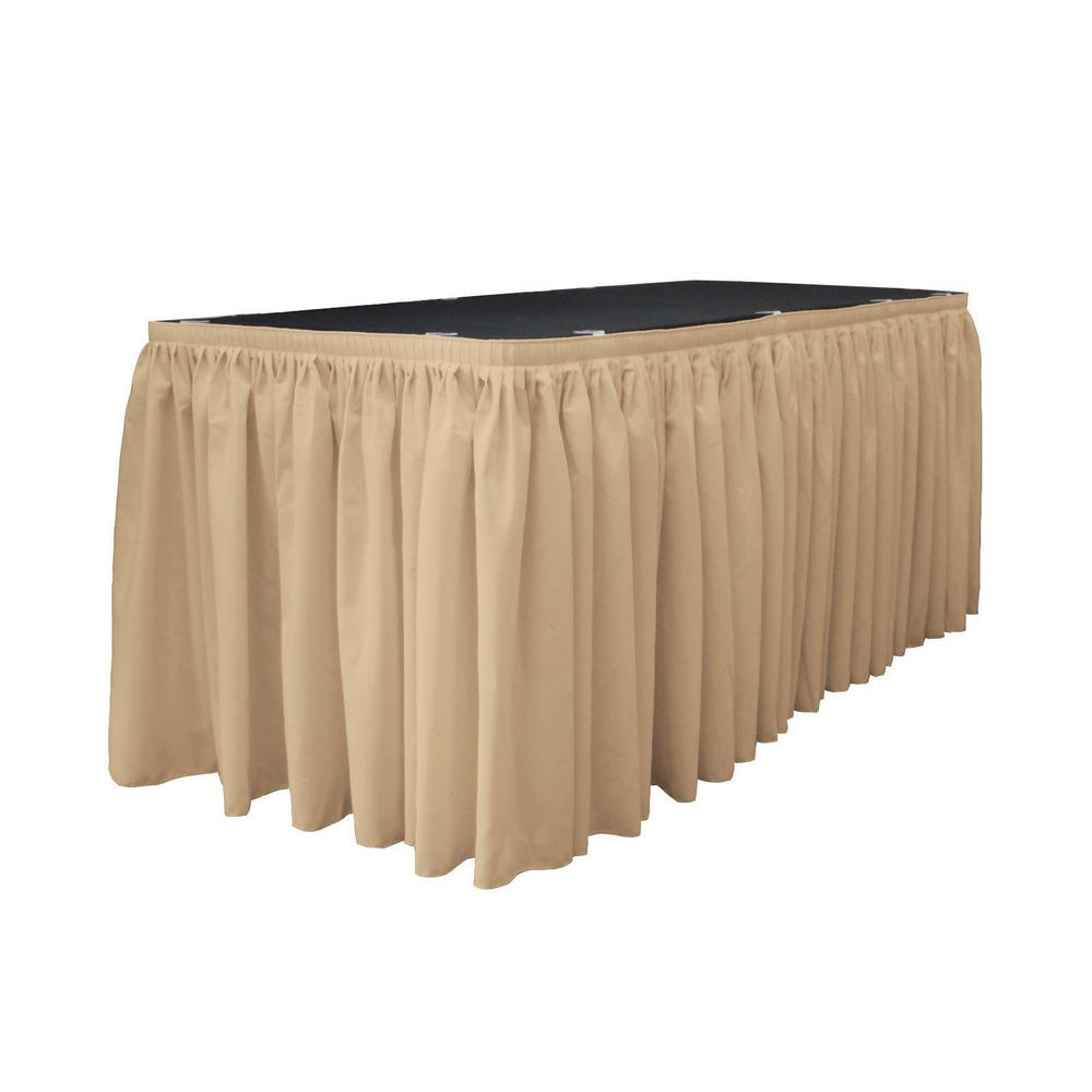 L.A. Linen 30 ft. x 29 in. L with 15-Large Clips Khaki (G...