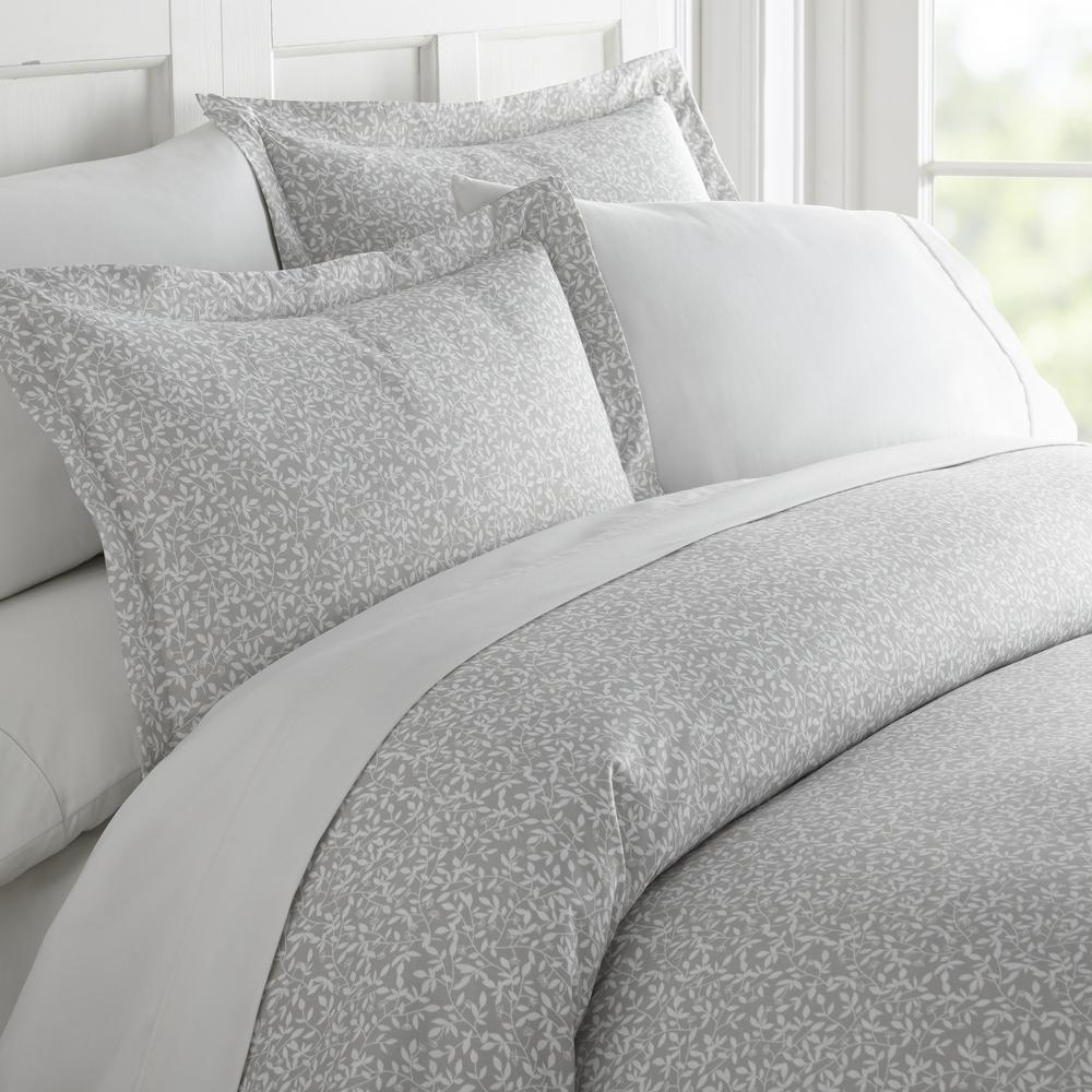 Vine Trellis Patterned Performance Gray King 3-Piece Duvet Cover Set