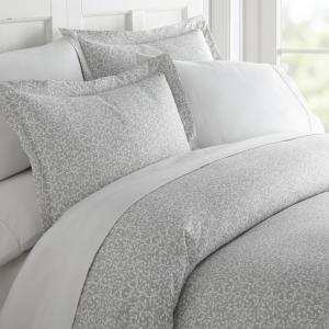 Vine Trellis Patterned Performance Gray Queen 3-Piece Duvet Cover Set