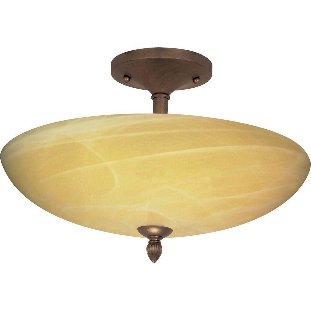Glomar Vanguard - 3 Light - 16 in. - Semi-Flush - with Gold Washed Alabaster Swirl Glass - Flemish Gold