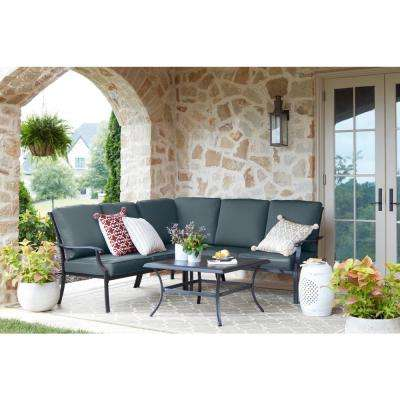Redwood Valley Black 4-Piece Steel Outdoor Patio Sectional Sofa Set with Sunbrella Denim Blue Cushions