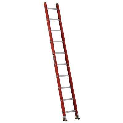 10 ft. Fiberglass Single Ladder with 300 lbs. Load Capacity Type IA Duty Rating