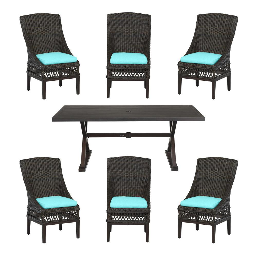 Hampton Bay Woodbury Dark Brown 7-Piece Wicker Outdoor Patio Dining Set with CushionGuard Seaglass Turquoise Cushions was $1299.0 now $799.0 (38.0% off)