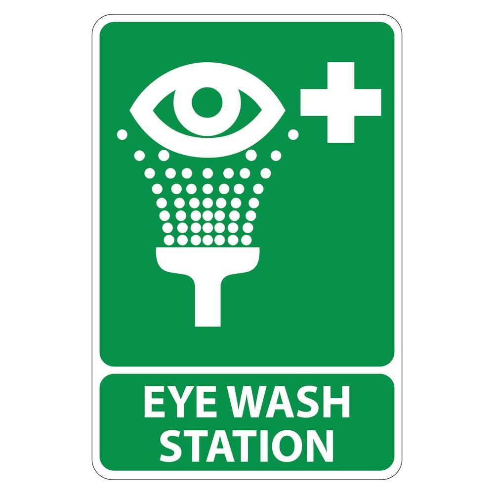 8 In X 12 In Plastic Green Eye Wash Station Sign Pse