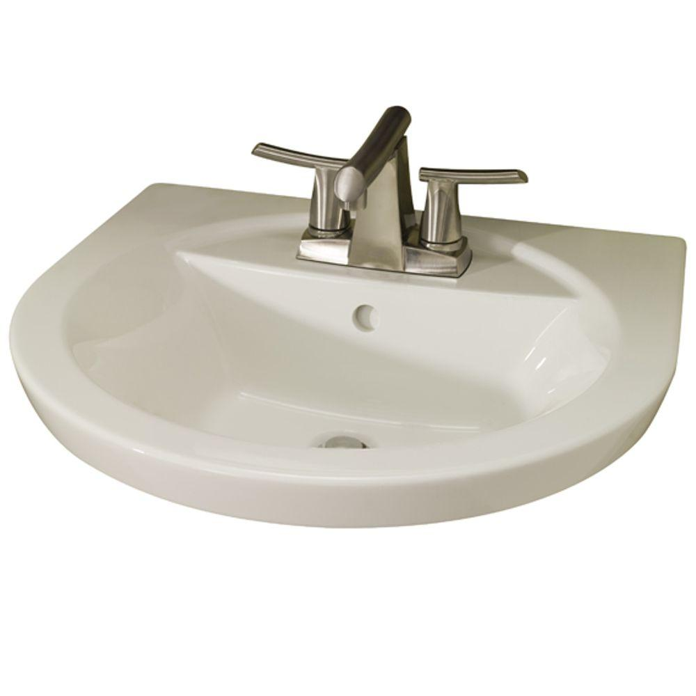 American Standard Tropic Petite 21 in. Center Pedestal Sink Basin with 4 in. Faucet Centers in Linen