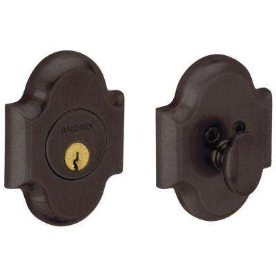2-1/8 in. Distressed Venetian Bronze Single Cylinder Door Prep Arch Deadbolt