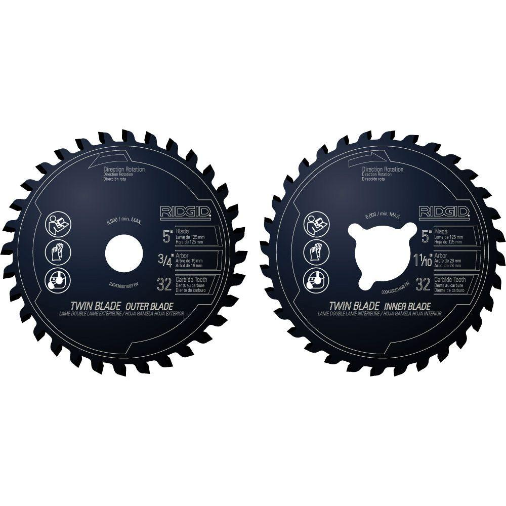 RIDGID 5 in. x 32-Tooth Dual Twin Saw Blade Set