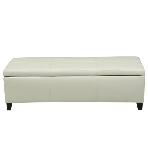 Noble House Glouster Ivory PU Leather Storage Bench 7755