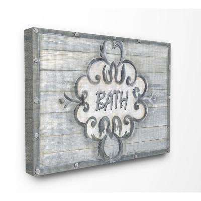 "16 in. x 20 in. ""Bath Grey Bead Board with Scroll Plaque Bathroom"" by Bonnie Wrublesky Printed Canvas Wall Art"