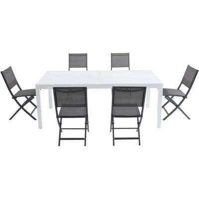 Palermo 7-Piece Aluminum Outdoor Dining Set with 6-Folding-Sling Chairs in Gray White 40 in. x 118 in. Expandable Table