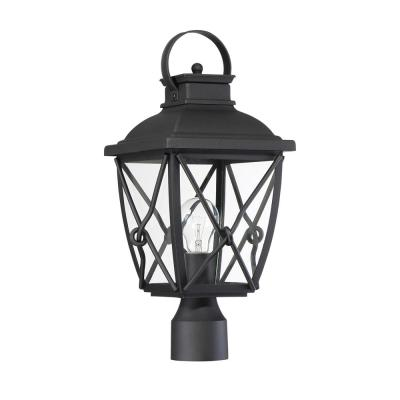 Belmont 1-Light Black Outdoor Post Lantern with Clear Glass Shade