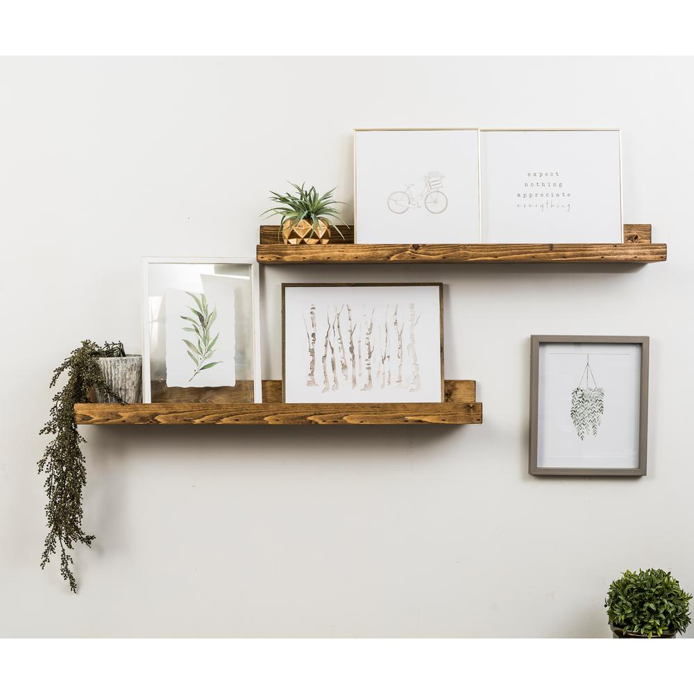 Del Hutson Designs Del Hutson Designs Rustic Luxe 7 in. x 36 in. Walnut Pine Floating Decorative Wall Shelves, Brown