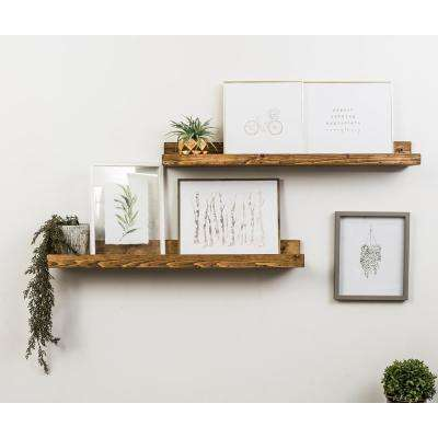 Rustic Luxe 7 in. x 36 in. Walnut Pine Floating Decorative Wall Shelves