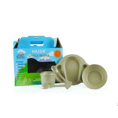 5-Piece Brown Dinnerware Set