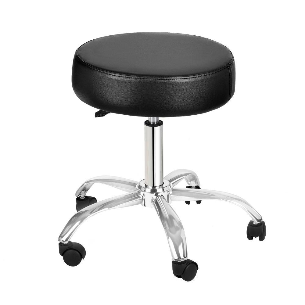 Black Adjustable Height Pneumatic Swivel Work Stool