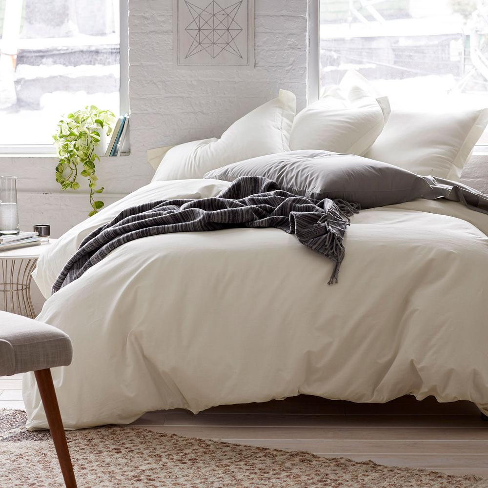 Organic 3-Piece Natural Solid Cotton Percale King Duvet Cover Set