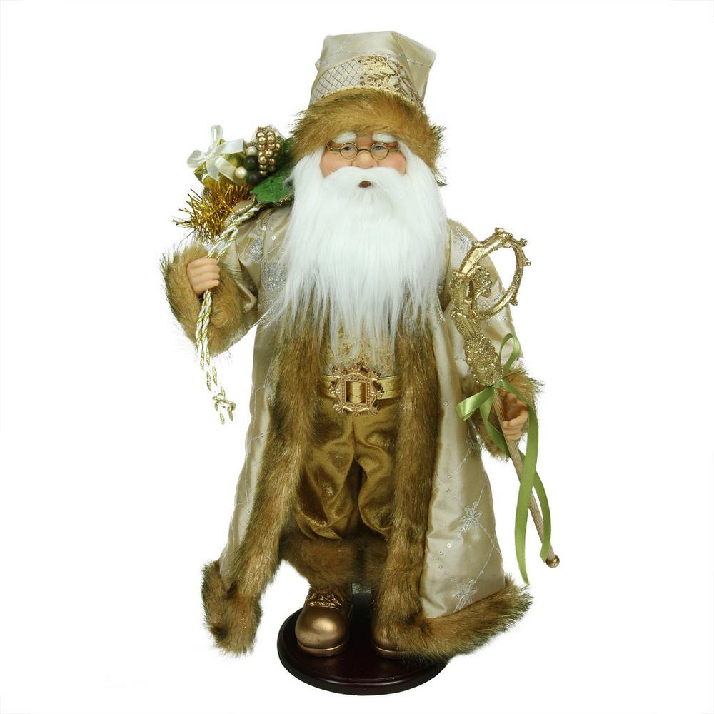 Northlight 18.25 in. Winter Light Santa Claus with Jacquard Jacket Christmas Decoration 18.25 in. Winter Light Santa Claus with Jacquard Jacket Christmas Decoration. From the Winter Light Collection. Santa has set out to start delivering gifts to children everywhere. Features a gold colored jacket and hat with a sparkling silver pattern. Santa carries a bag full of gifts holly berries and pine sprigs. For indoor decoration only. Dimensions: 18.25 in. H x 9 in. W x 6 in. D. Material(s): faux fur/wool/plastic.