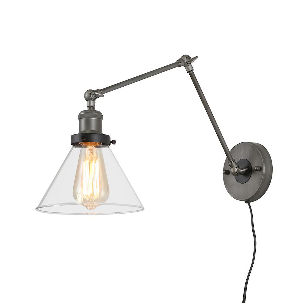 Leighton Wall Adjustable Sconce Remodelista: LNC 1-Light Grey Plug-In Wall Lamps Adjustable Clear Glass