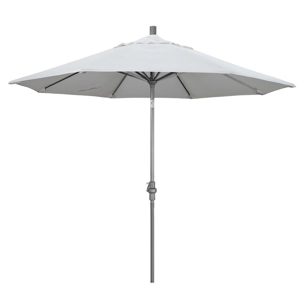 9 ft. Hammertone Grey Aluminum Market Patio Umbrella with Collar Tilt Crank Lift in Natural Sunbrella