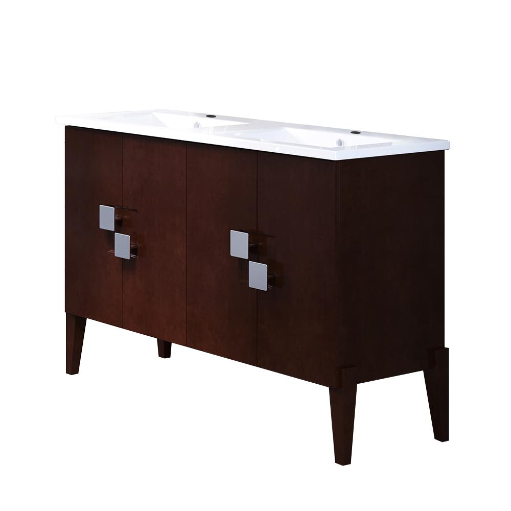 Bellaterra Home Perth 49 in. W x 18.5 in. D Bath Vanity in Walnut with Ceramic Vanity Top in White with White Basin