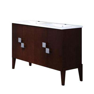 Perth 49 in. W x 18.5 in. D Bath Vanity in Walnut with Ceramic Vanity Top in White with White Basin