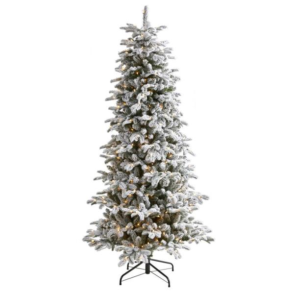 Nearly Natural 7 Ft Pre Lit Flocked North Carolina Fir Artificial Christmas Tree With 550 Warm White Lights T1873 The Home Depot