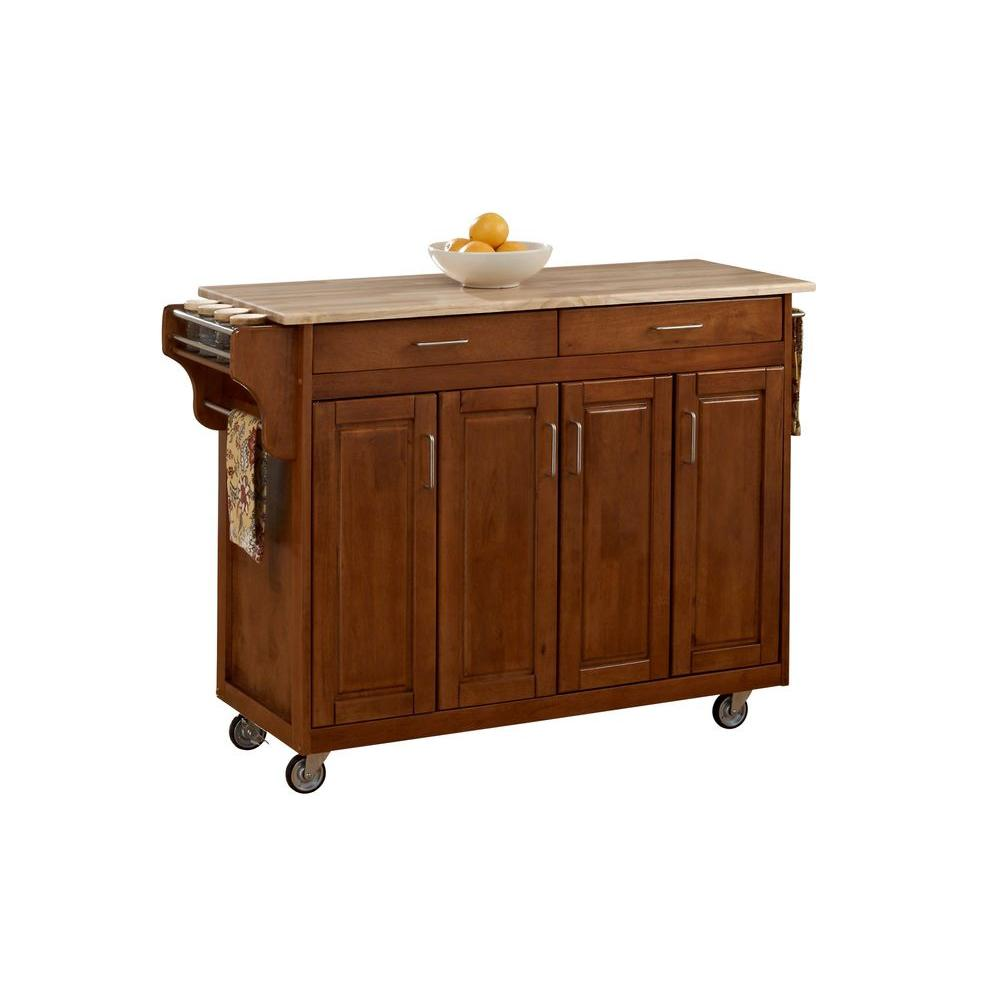Create A Cart Warm Oak Kitchen Cart With Natural Wood Top