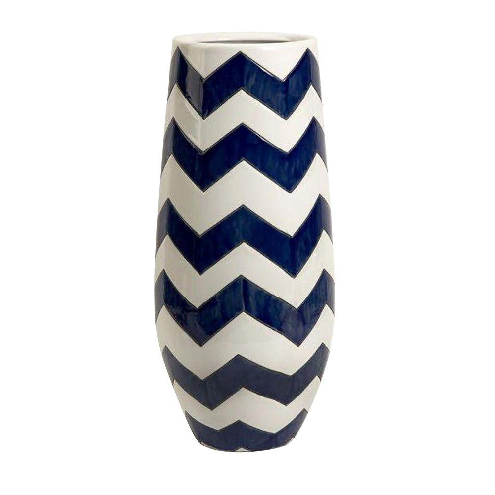Home Decorators Collection Chrevron Navy/White Tall Vase