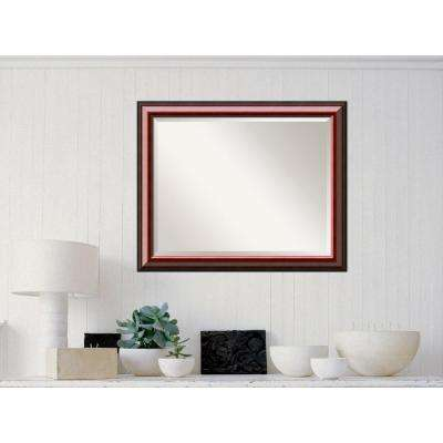 Cambridge Mahogany Wood 32 in. W x 26 in. H Traditional Framed Mirror