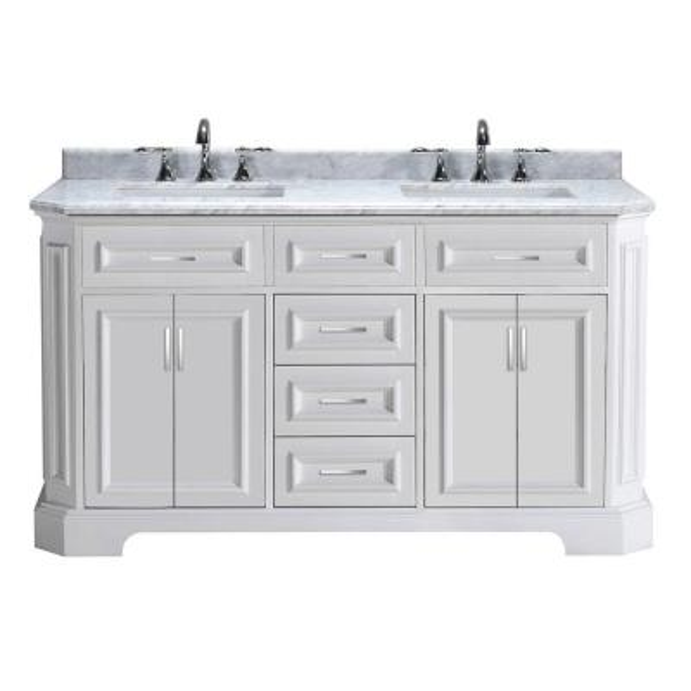 Bristol 60 in. Vanity in White with Marble Vanity Top in Carrara White