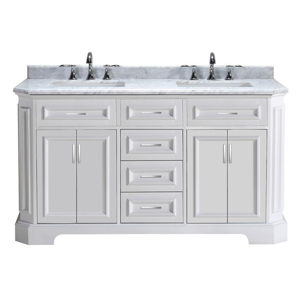 Pegasus Bristol 60 inch Vanity in White with Marble Vanity Top in Carrara White by Pegasus