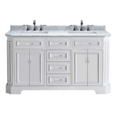 Bristol 60 in. Vanity in White with Marble Vanity Top in Carrara White