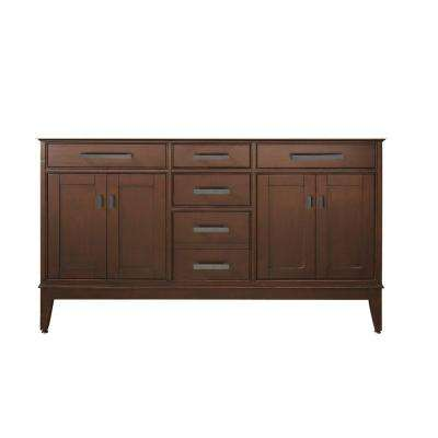 Madison 60 in. W x 21 in. D x 34 in. H Vanity Cabinet Only in Tobacco