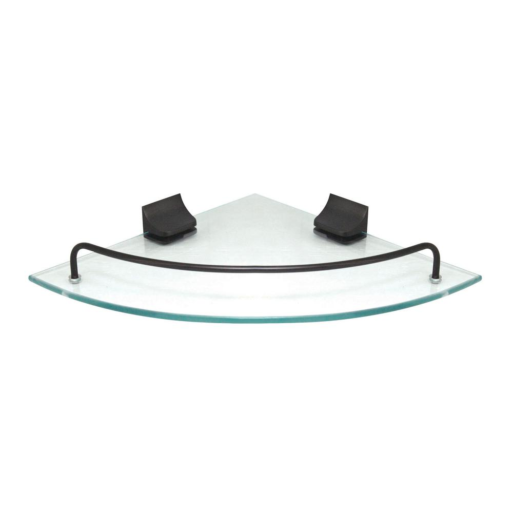 9.5 in. x 9.5 in. Glass Corner Shelf with Pre-Installed Rails