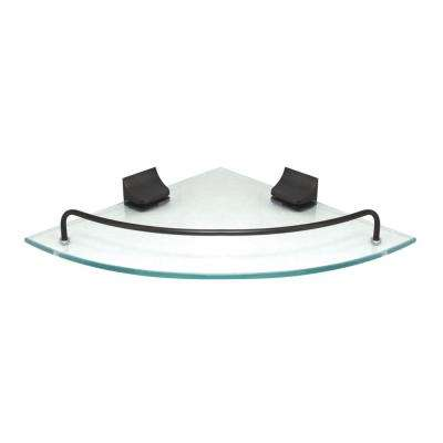 9.5 in. x 9.5 in. Glass Corner Shelf with Pre-Installed Rails in Rubbed Bronze