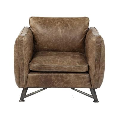 Jordan Brown Top Grain Leather Wide Accent Chair W/ Base And Iron Legs