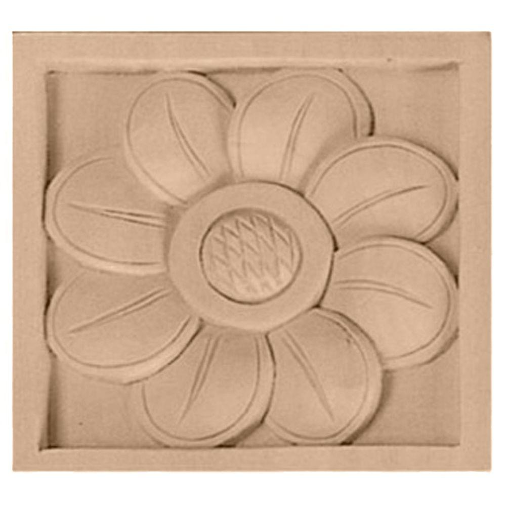 Ekena Millwork 5/8 in. x 3 in. x 3 in. Unfinished Wood Maple Small Sunflower Rosette