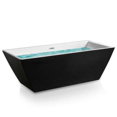 69.96 in. Acrylic Center Drain Rectangular Double Ended Flatbottom Freestanding Bathtub in Glossy Black