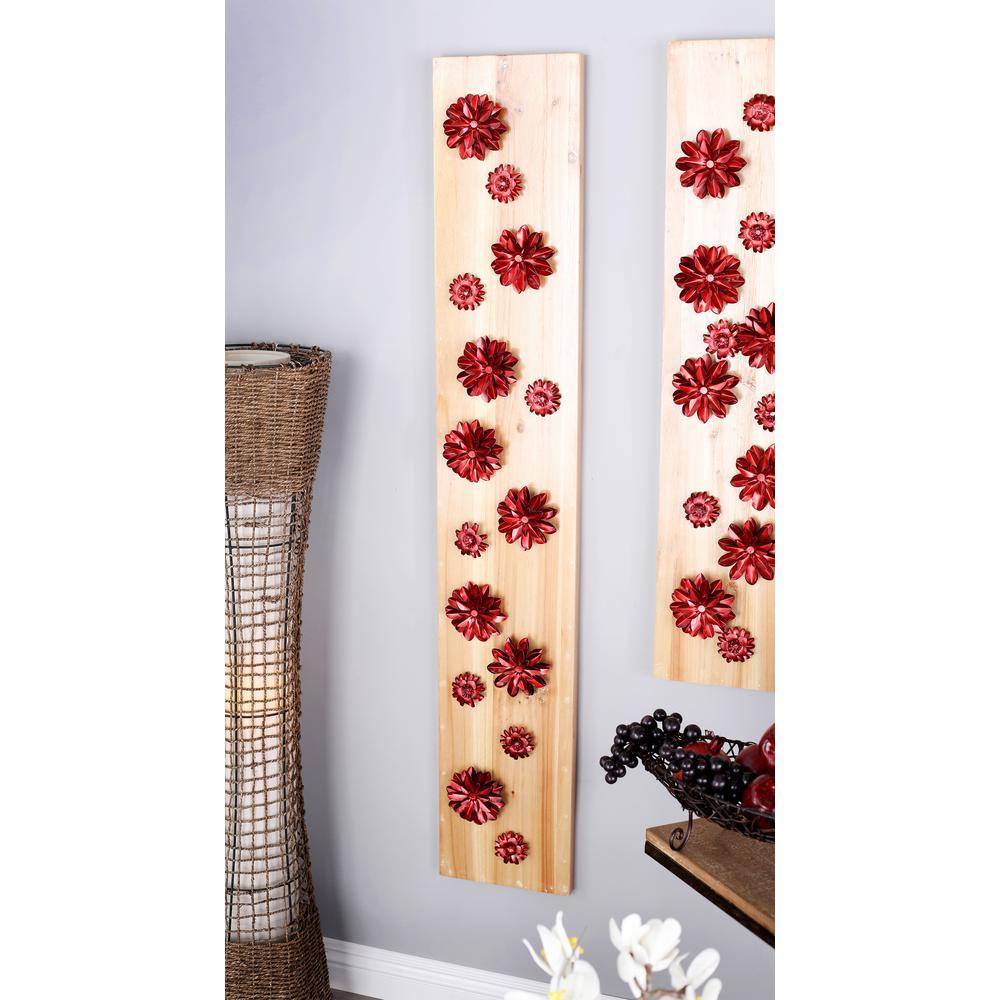 Litton Lane 55 in. x 9 in. Plank of Copper Flowers Wooden Wall Art