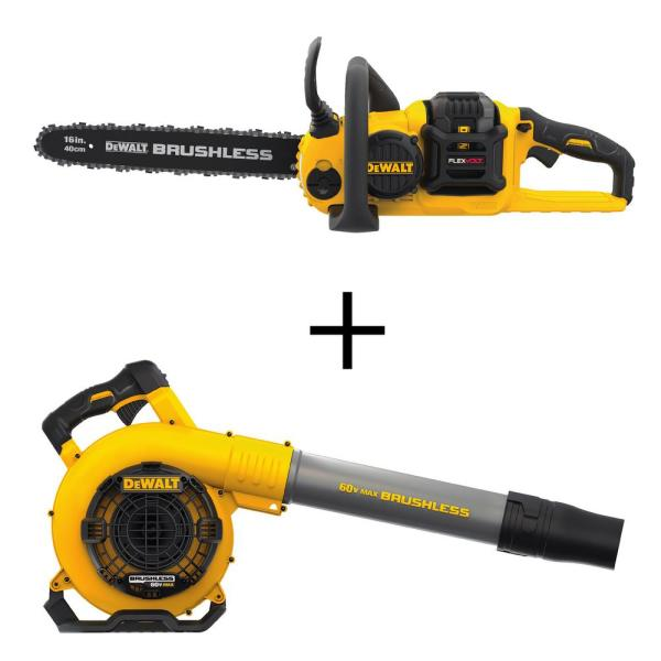 16 in. 60V MAX Cordless FLEXVOLT Brushless Chainsaw with (1) 3.0Ah Battery & Charger with Bonus Handheld Blower
