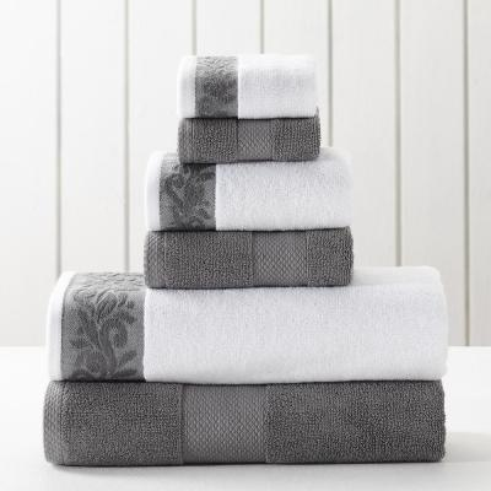 6-Piece Charcoal Towel Set with Filgree jacquard Border