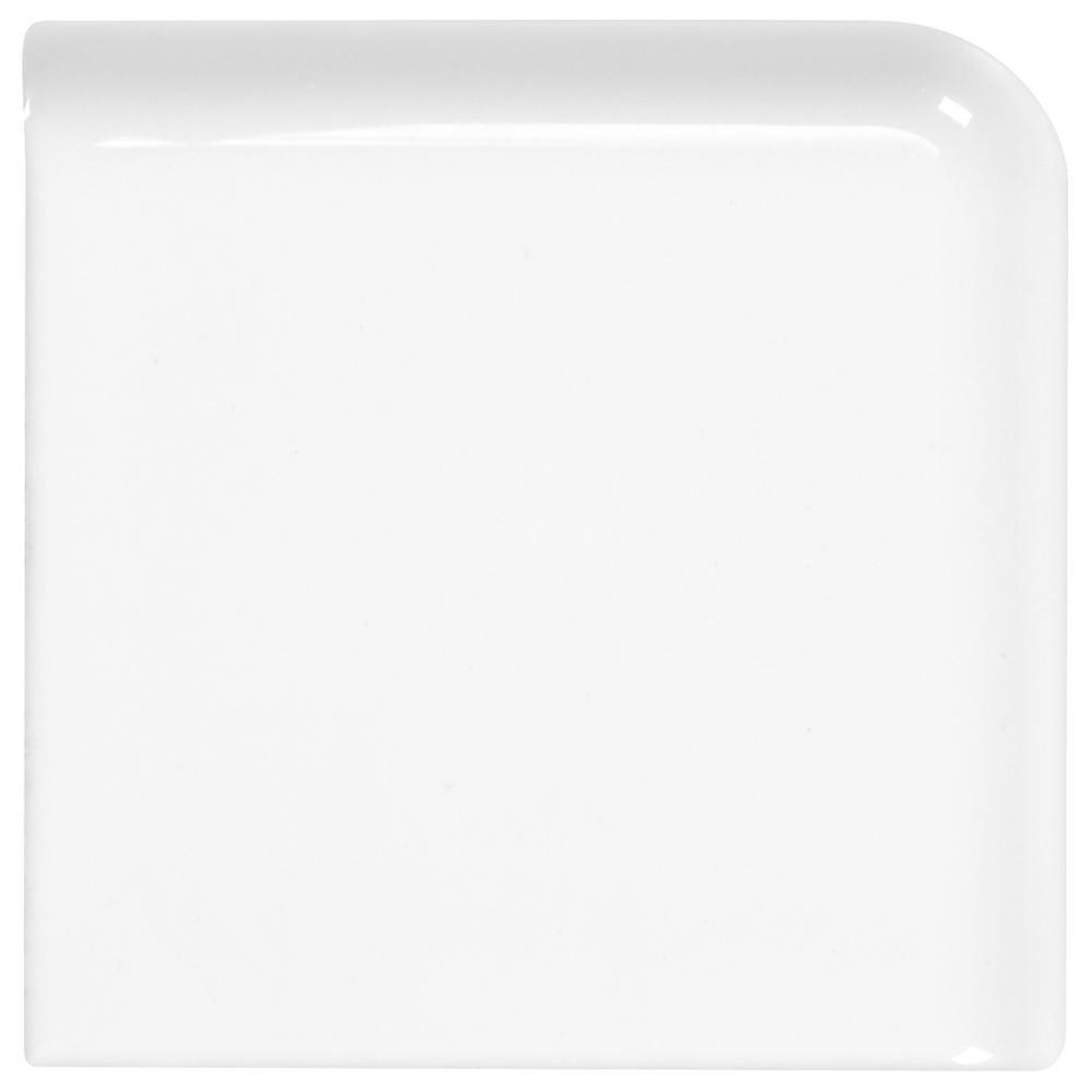 Daltile Finesse Bright White 2 in. x 2 in. Ceramic Bullnose Corner Wall Tile