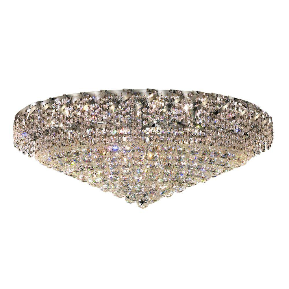 28-Light Gold Flushmount with Clear Crystal