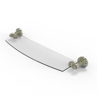 Waverly Place 18 in. Glass Shelf in Polished Nickel
